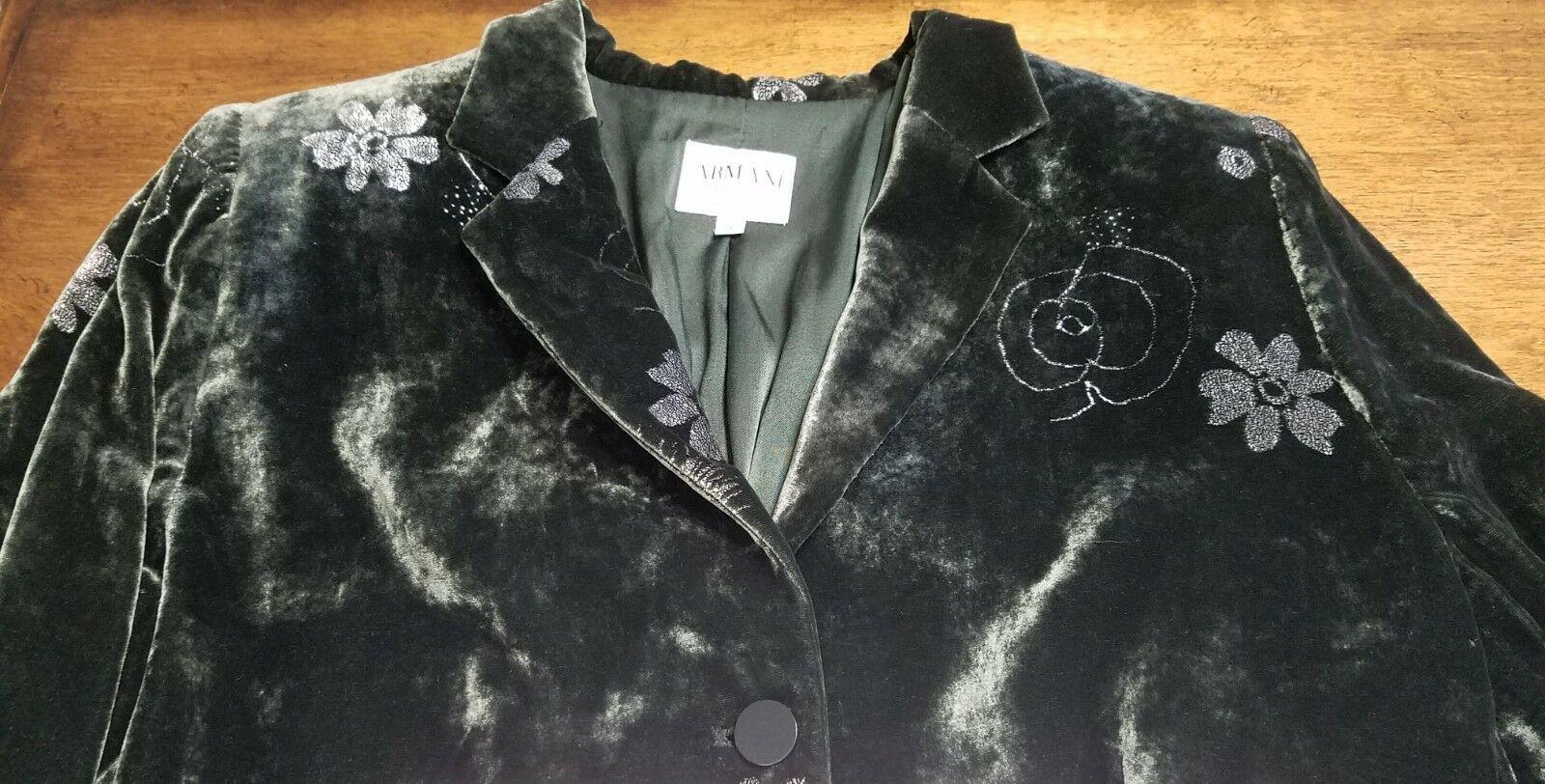 GIORGIO ARMANI COLLEZIONI 12 green floral crushed velvet fitted blazer jacket
