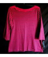 Macys KS Karen Scott Women Cotton Knit Top Shirt 3/4 Sleev Raspberry Cha... - $24.44