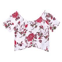 Floral Elastic Cropped Blouse(COLORMIX L) - $19.53