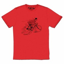 Tintin & snowy fleeing red t-shirt on a bike t-shirt Official Tintin Moulinsart