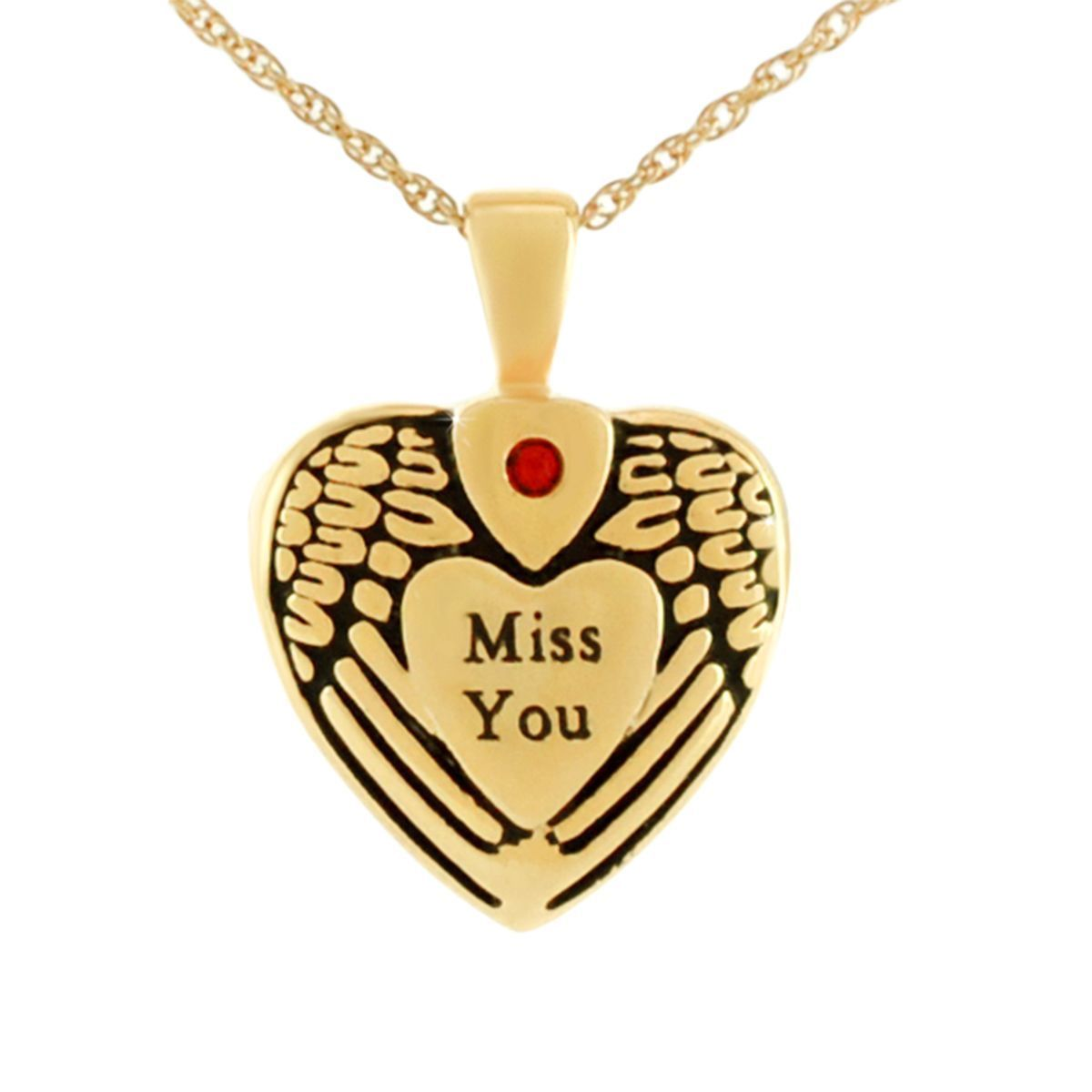 Small/Keepsake Miss You Gold Heart Pendant Funeral Cremation Urn for Ashes