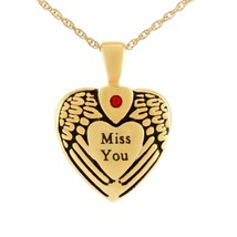 Small/Keepsake Miss You Gold Heart Pendant Funeral Cremation Urn for Ashes - $99.99