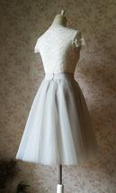 Grey Knee Length Midi Tulle Skirt Gray Full Circle Tulle Skirt Any Size image 5