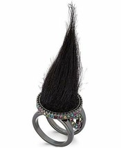 Betsey Johnson xox Trolls Black Faux-Fur Ring, Size 7 - $19.75