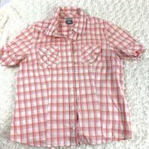 Nike ACG Womens Sz L Shirt Pink Orange White Button Up Top Short Sleeve ... - $9.88