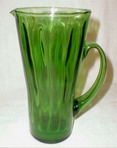 reto pitcher glass  green optic  large applied handle - $40.00