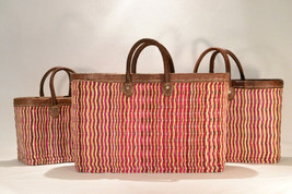 Hand woven market baskets. Nesting Set of 3: S,M,L. Fuscia/Natural Stripe.  - $119.00