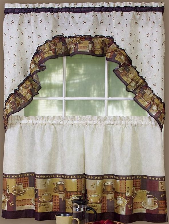 "Primary image for 3 pc Kitchen Curtains Set: 2 Tiers (57""x 36"") & Swag (57"" x 30"") COFFEE by Achim"