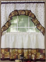 "3 pc Kitchen Curtains Set: 2 Tiers (57""x 36"") & Swag (57"" x 30"") COFFEE ... - $17.81"
