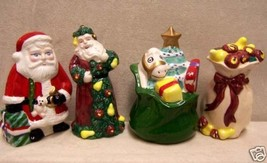 2 SETS OF SANTA W/TOYS CHRISTMAS SALT & PEPPER SHAKERS - $6.92