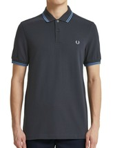 Fred Perry Men's Short Sleeve M3600 Twin Tipped Polo Shirt Graphite/Sky/Sky - $69.12