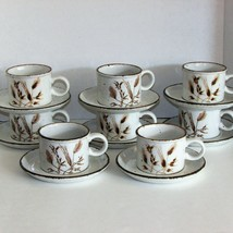 WILD OATS STONEHENGE COFFEE CUPS & SAUCERS SET OF 8 MIDWINTER STONEWARE ... - $69.99