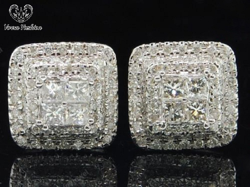 Primary image for White Gold Fn. 925 Silver Ladies Square Shape Stud Earrings Princess Cut Diamond