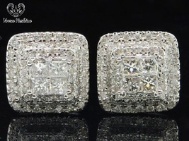 White Gold Fn. 925 Silver Ladies Square Shape Stud Earrings Princess Cut... - $78.41