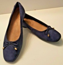 CLARKS ARTISAN Women's Slip On Suede Leather Uppers Flats Shoes Size 7 Blue - $24.99