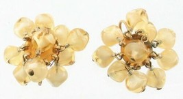 VINTAGE WEISS GIVRE GLASS 2 TONE AMBER DANGLE BEAD CLIP EARRINGS - $32.39