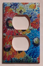 Flowers oil painting Art image Light Switch Outlet wall Cover Plate Home Decor image 2