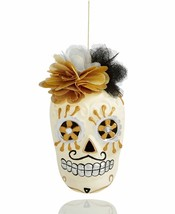 Holiday Lane Mrs. Skull Head with Flowers Ornament - $22.65
