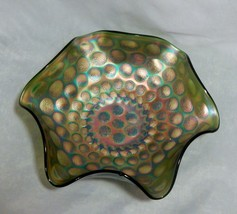 Fenton Carnival Green Coin Glass Bowl - $15.84