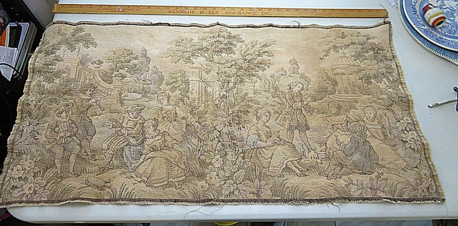 Primary image for Vintage Belgium Tapestry Romantic Garden Scene 18th Century Wall Hanging Decor