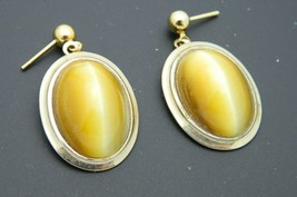Yellow Tiger's Eye Oval Stone Gold Tone Post Earrings Vintage - $24.74