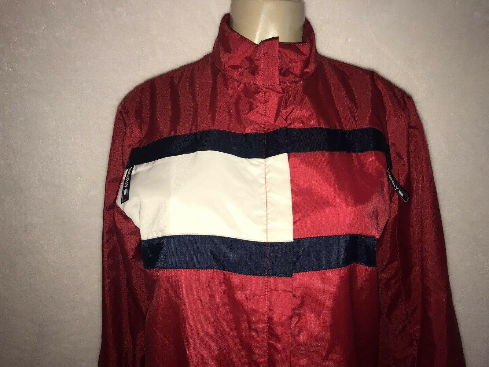 Vintage 90s TOMMY Jeans  HILFIGER Big Flag Logo Nylon Crop Jacket Colorblock S image 2