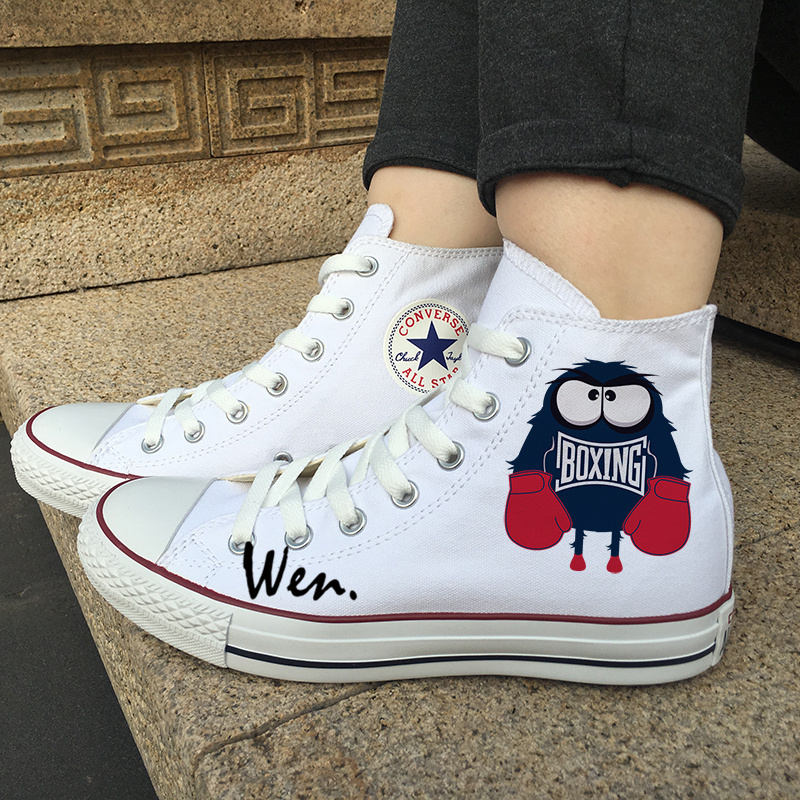 8732297d7331 Img 1 29. Img 1 29. Men Women Converse Design Cartoon Boxing Monsters Canvas  Shoes White Sneakers