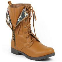 Cognac Brown Faux Leather Tribal Zipper Lace Up Mid Calf Military Combat Boot - $14.99