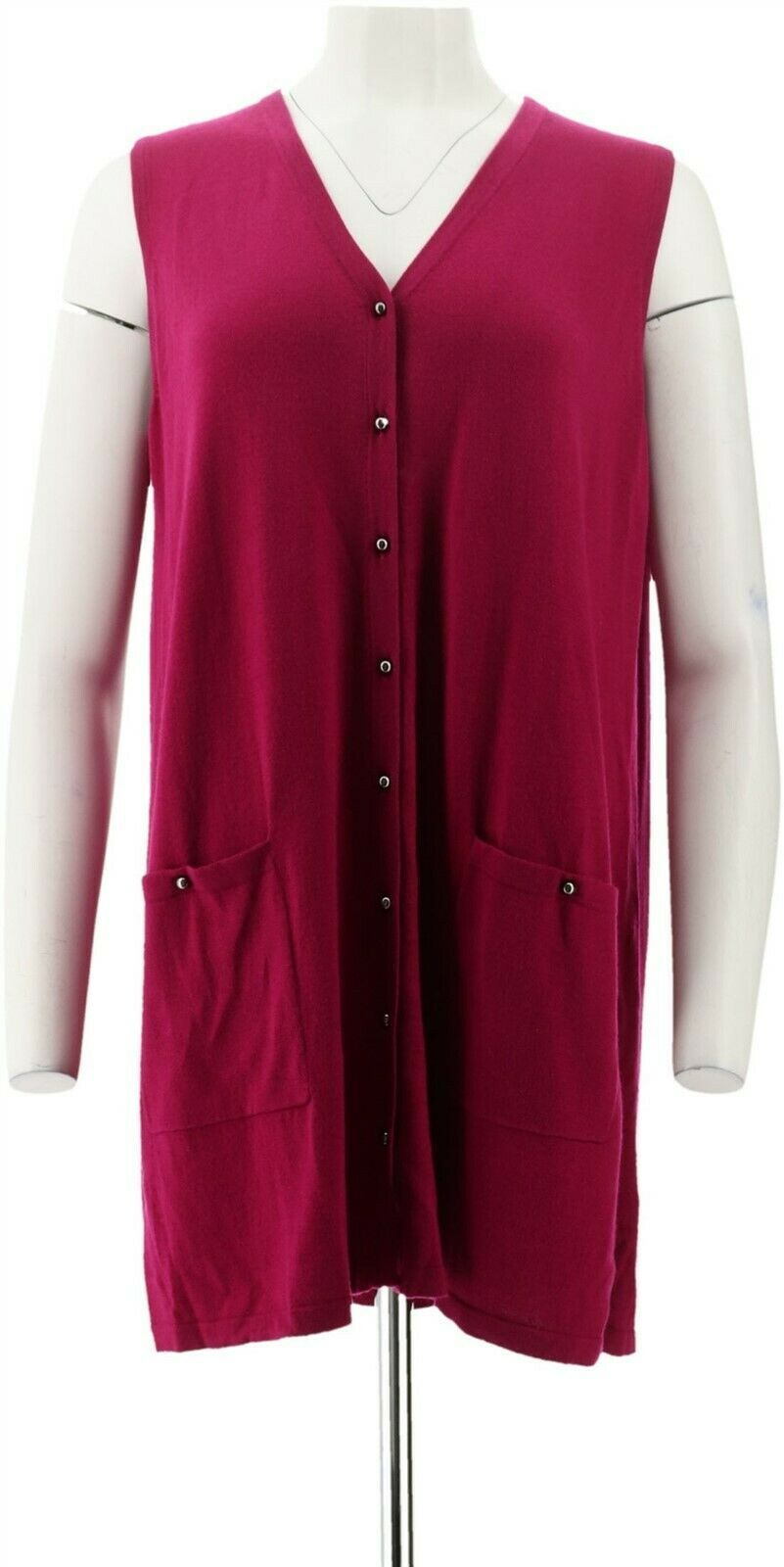 Primary image for Susan Graver Rayon Nylon Button Front Long Sweater Vest Magenta 2X NEW A293628