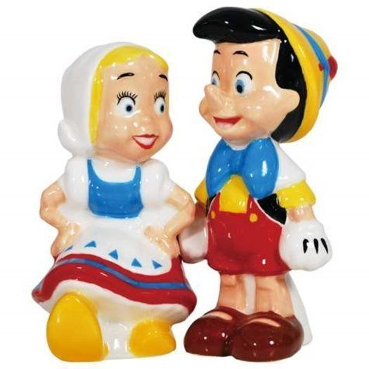 Walt Disney's Pinocchio and Doll Ceramic Salt and Pepper Shakers Set NEW UNUSED