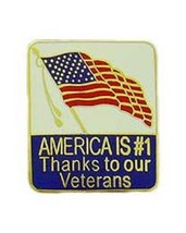 America Is # 1 Because Of Our Veteran Pin - $5.93
