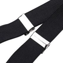 Black Unisex Suspender Braces Adjustable with Button Holes Lycra/Elastane UK image 3