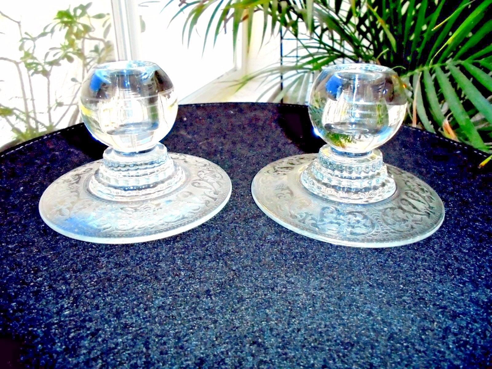Set of 2 Viking Princess Pattern Candle Holders Etched - $11.88