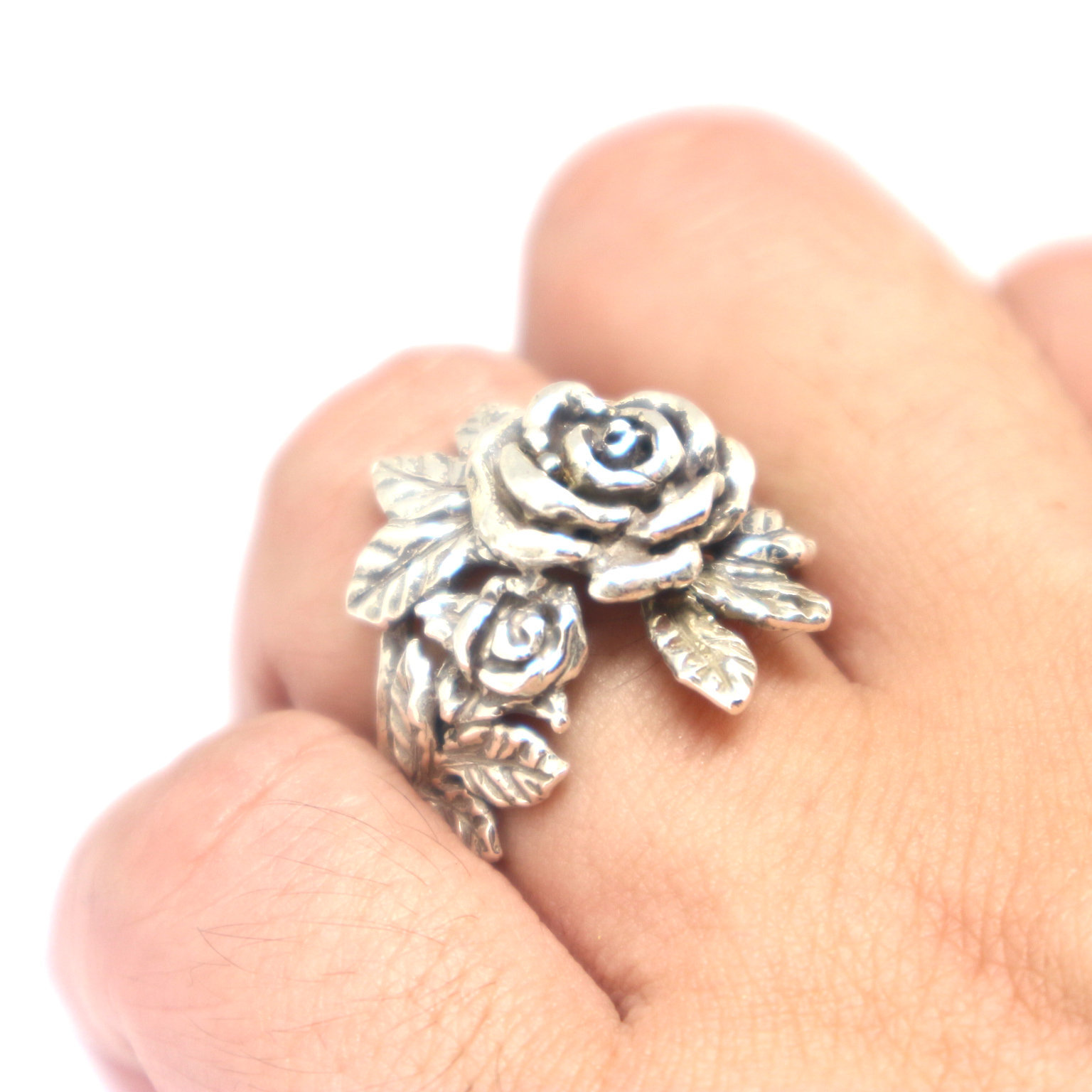 Silver Flower Rose Ring image 4