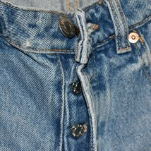 Zara Women's Tattered Raw Hem Distressed Blue Denim Button Up Jean Shorts Size 4 image 4