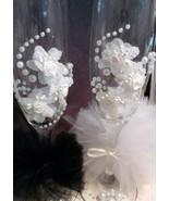Elegant Pearl Champagne Wedding Flutes Bride /Groom Barware Gifts Weddin... - $16.50