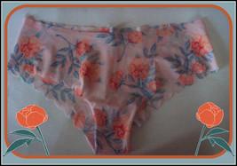 L Pink Orange Floral SCALLOPED  NO SHOW Victorias Secret PINK Cheekster ... - $10.99