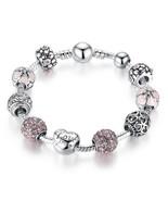 Women Stunning Pink Rhinestone  Love and Flower Crystal Ball Bracelet Gift - $12.99