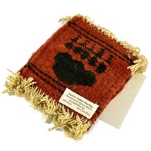 Handmade Zapotec Indian Weaving Hand-Woven Bear Claw Red Wool Coaster Set of 4 image 2