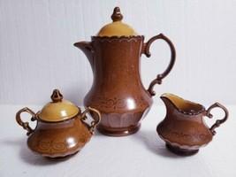 Metlox Vernon Ware San Fernando Gold 7 Cup Coffee Pot, Creamer, Sugar Bowl w/Lid - $47.51