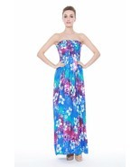 Hawaiian Luau Dress Cruise Maxi Long Tube Elastic Plus Size Tie Rainbow ... - £29.18 GBP