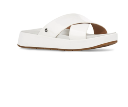 UGG Emily Slide Womens White Leather Straps Fashion Comfort Sandals Size... - $129.99