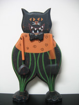 PRIMITIVE~Folk Art~HAND PAINTED WOODEN HALLOWEEN BLACK CAT Decoration PRIM - €18,62 EUR