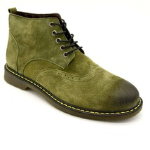 Fashion Mens Chukka Leather Lace Up Short Boots Size EUR 38 Green Wing T... - $24.64