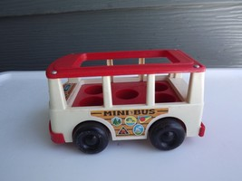 Vintage Fisher Price Mini Bus #141 Little People Retro White Camper Van - $11.53