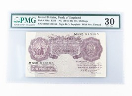 1948-49 Gran Bretaña,Banco de Inglaterra 10 Chelines Graduado por PMG VF... - $74.40
