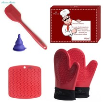 Silicone Oven Gloves Pair, Placemat Spatula Set - 5 Piece Kitchen Ensemb... - $22.26