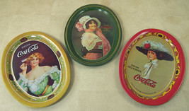 "3 Small COCA-COLA Metal Coaster Trays Replicas of Old Coke Oval Trays 6 x 4-3/8"" - $12.35"