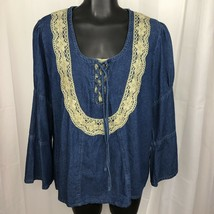Cervelle Womens Small Long Sleeve Denim Beige Lace Top Cotton Shirt Tie ... - $13.61