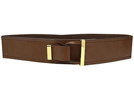 LAUREN Ralph Lauren 2 5/8 Metal Tip Tab-Front Stretch Women's Belts Tan M - $30.90
